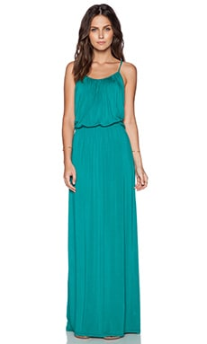 LA Made Draped T-Back Maxi Dress in Caribbean