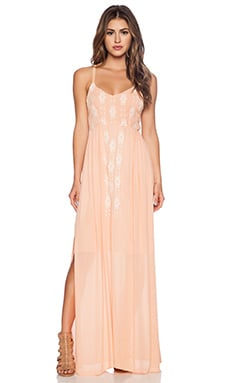 LA Made Mara Embroidered Maxi Dress in Peach
