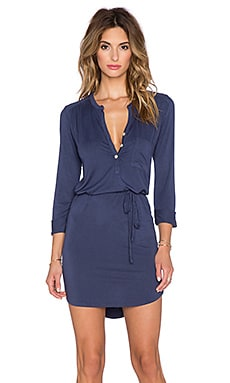 LA Made Henhey 3/4 Sleeve Dress in City Blue