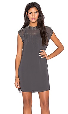 LA Made Beaded Poly Mico Crepe Selma Shift Dress in Raven