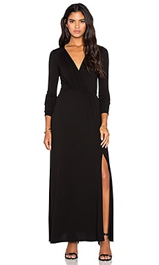 LA Made Rayon Crepe Sapphire Surplice Maxi Dress in Black