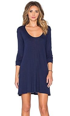 LA Made Slub Jersey Lily Scoop Tunic in Midnight