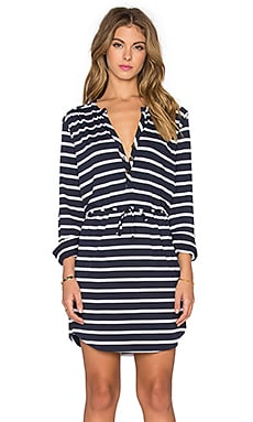 LA Made Henley 3/4 Sleeve Dress in Navy & White Stripe