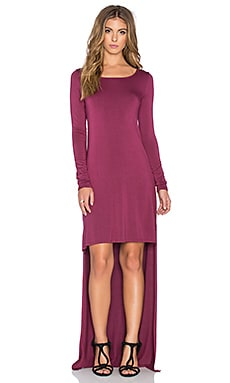 LA Made Micromodal Spandex Hardy Hi Lo Maxi Dress in Grenache