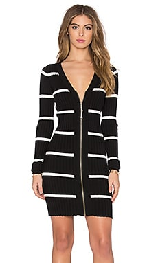 LA Made Eli Deep V Dress in Black & Egret Stripe