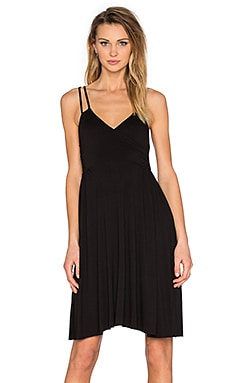 Asymmetric Wrap Dress in Black