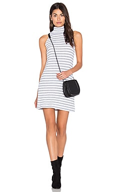 LA Made Jackson Dress in White & Heather Grey Stripe