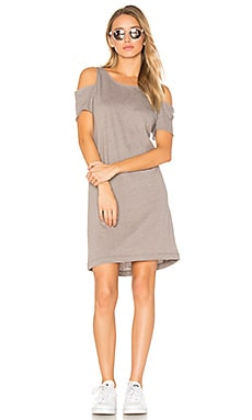 Zadeth Cold Shoulder Tee Dress in Taupe