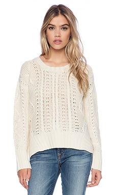 La Made Cut Out Hem Sweater in Cream