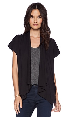 LA Made Remi Short Sleeve Cardigan in Black