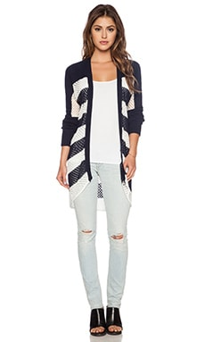 LA Made Open Knit Cardigan in Navy & White