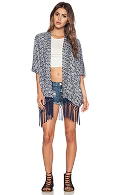 LA Made Emma Open Cardigan in Paint Brush Abstract Geo