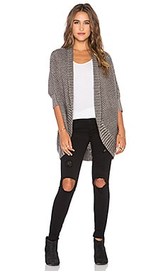 LA Made Crystal Cocoon Cardigan in Heather Grey