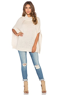 LA Made Sage Turtleneck Poncho in Cream
