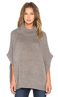 LA Made Sage Turtleneck Poncho in Heather Grey