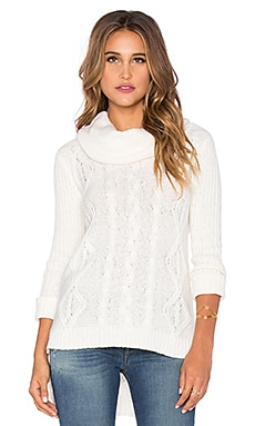 LA Made Lightweight Cable Oversized Cowlneck Sweater in Ivory