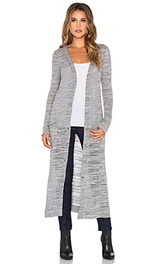LA Made Cozy Slub Veneto Extra Long Cardigan in Stone