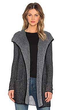 LA Made Two Tone Waffle Cashmere Blend Hooded Cardigan in Black & Grey