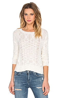 LA Made Off Shoulder Cable Sweater in Egret