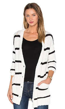 LA Made Ananda Cardigan in Ivory & Black Stripe