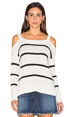 Kim Cold Shoulder Sweater in Ivory & Black Stripe