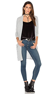 Guy Midi Cardigan in Heather Grey & White Stripe