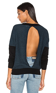 Oliver Split Back Sweater in Black Combo