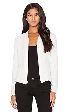 LA Made Tweed Square Marlboro Zip Up Jacket in Ivory