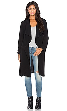 LA Made Viscose Crepe Alexa Trench Coat in Black