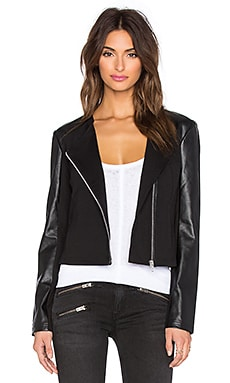 LA Made Ponte & Vegan Leather Lucia Zip Up Jacket in Black