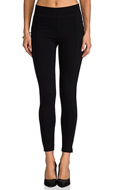 LA Made Solid Ponte Paneled Legging in Black