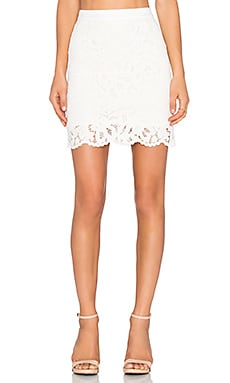 LA Made Lulu Lace Pencil Skirt in Cream