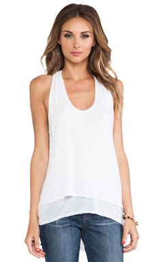 Racerback High-Low Double Layer Tank in White