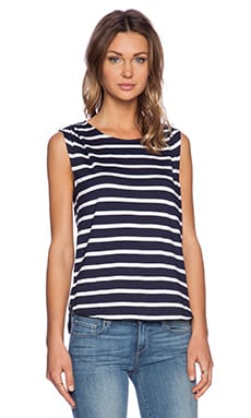 LA Made Liza Top in Navy & White Stripes