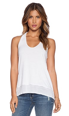 LA Made High Low Racerback Tank in White