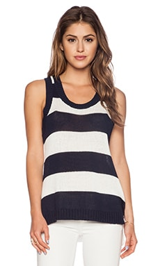 LA Made Open Knit Tank in Navy & White