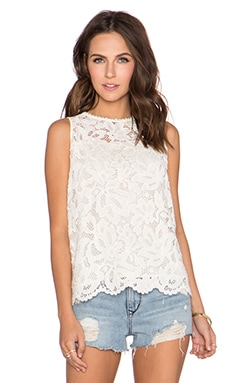 LA Made Ava V Neck Lace Tank in Cream