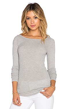 LA Made 2X1 Rachel Boatneck Top in Heather Grey