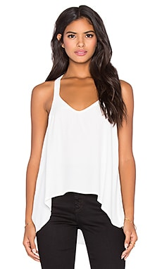 LA Made Viscose Crepe Sloan V-Neck Tank in Ivory