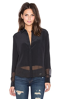 LA Made Rachel Button Down Top in Black