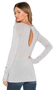 LA Made Slub Jersey Sadie Long Sleeve Tee in Heather Grey