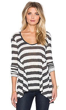 LA Made Pointelle Stripe Gia Long Sleeve Top in Black & Ivory