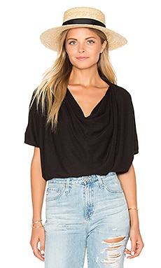 LA Made Amelia Drape Tee in Black