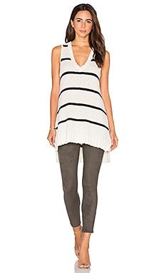 LA Made Kiera Tunic Tank in Ivory & Black Stripe