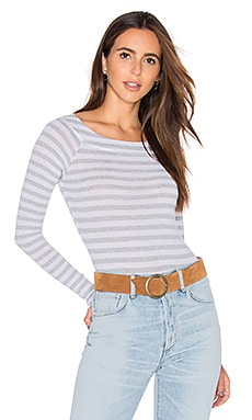 Anja Bodysuit en White & Heather Grey Stripe