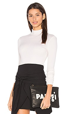 Sibel Mock Neck Tee in Shearling