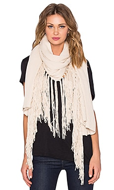 LA Made Cotton Fringe Scarf in Ivory