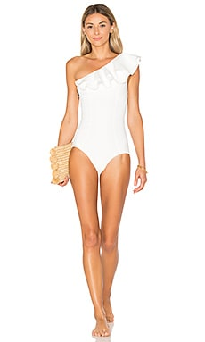 Arden Double Ruffle One Piece in White Bonded
