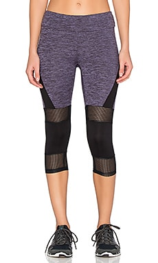 Lanston Sport Mesh & Color Block Cropped Legging in Violet