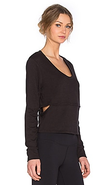 Lanston Sport Cutout Cropped Sweatshirt in Black